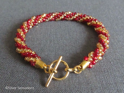Ruby Red & Gold Stripey Beaded & Woven Kumihimo Seed Bead Bracelet